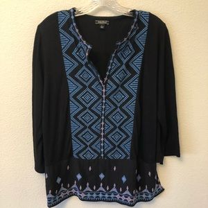 Lucky Brand Boho embroidered blouse large